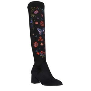 IMPO Faux suede embroidered over the knee boots.